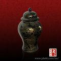 Pulgadas 21.5 templo en forma de tarro de cristal negro de antigüedades de porcelana florero de cerámica