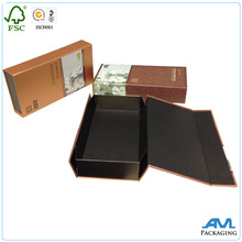 magnetic flat folding paper gift box with customized shiny UV logo for apparel packaging