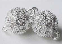 JF2030 Silver Magnetic Clasps,Round Ball Magnetic clasps,Crystal Pave Magnetic Clasps