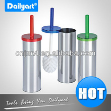 Plastic lid Stainless steel toilet brush with holder