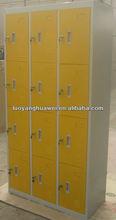 12-door metal gym clothes locker/ steel cupboard with yellow color