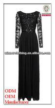lady lace dinner dress/boat neck lace top pleats bottom floor lengt