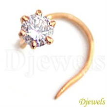 Stud Solitaire Diamond Nose Ring & Pin