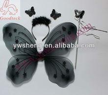 Wholesale fairy black baby butterfly wings party decoration lively fairy butterfly wings for kids