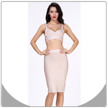 Beige bandage sexy spaghetti strap two pieces lady sexy dress