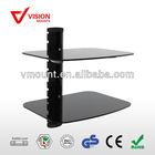 Modern desgin Height Adjustable Aluminum Tempered Glass DVD/STB Wall Holder /table wall mount