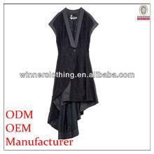 lady fashionable lace coat/deep v-neck cap sleeve longer back autumn coats 2015