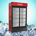 Comercial refrigerador 1200L doble puerta corredera enfriador de bebidas