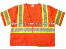 DFV-365 100% Polyester Mesh Orange ANSI Class 3 Short Sleeves Public Safety Vest