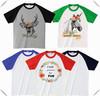 Kids 2014 Custom Fashion 3/4 sleeve raglan t-shirt,contrast raglan sleeve baseball t-shirt with printing