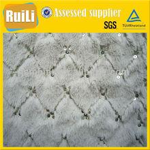 embroider spangle pv plush fabric for fashion garment
