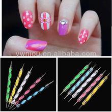 5 PCS 2Way Marbleizing Dotting Manicure Tools Painting Pen Nail Art Paint Pen