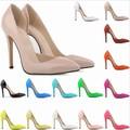 american zapatos blancos de punta de diamante del dedo del pie zapatos de tacón alto de la patente de oro fino cuero de las mujeres tacones de zapatos de tacón partido