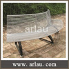 Stainless steel outdoor bench chair with cast iron legs and backrest FS68