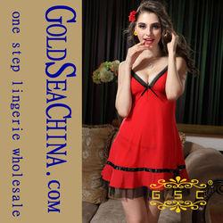 Hot adult Elegant red ice silk nighties dress