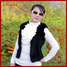 fashion design luxury modern rabbit fur vest(CHF0001-2)