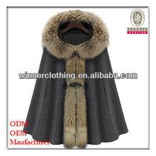 2013 New Fashion Luxury Woman's Mink Fur Collar Hooded Cloak Coat
