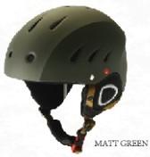 matte green handsome mens visor ski helmet