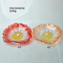 Decorative colored glass plates flower shaped wholesale