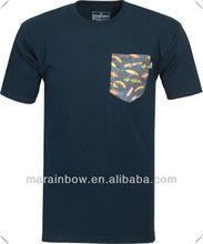 Navy blue Native Custom white Pocket T-Shirt, sublimation printing pocket T shirt