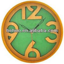 Green dial decorated wooden wall clock ,cheap price bar wall clock