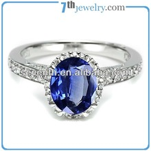 Big Oval Cut Diamond Rings Sapphire Brass Cooper White Gold Plated Finger Ring Wedding/Engagement Rings With Blue CZ Diamonds