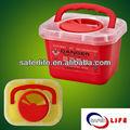 Venta al por mayor 2014 2.7l de riesgo biológico del hospital médico moyuelos caja de residuos de envase con el mango