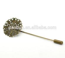 Antique Bronze Zinc Metal Alloy&Alloy Filigree Flower Brooch Back Pin Findings