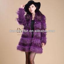 2013 winter luxury raccoon fur coat with lamb fur