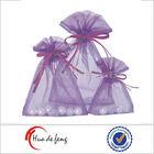 Top quality purple wedding organza small drawstring pouches