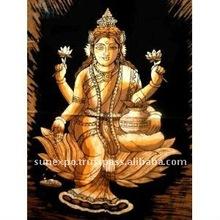 "Indian Goddess Saraswati Batik Tapestry Cotton Fabric Wall Decor Hanging 30"" X 20"""