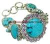 Silver Mexican Turquoise Kunzite Blue Topaz Bracelet, 925 Silver Jewelry, Fine Jewelery