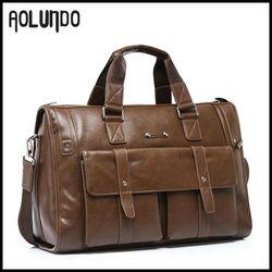 Deluxe Genuine Leather Travel Bag Black Brown Duffel Bag