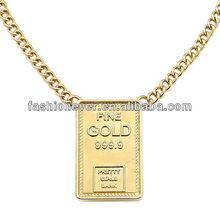 Short Metal Urban Glam Bold Statement Fine Gold Bar shape Pendant Necklace