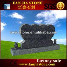 double heart headstone Memorials blue pearl granite tombstone