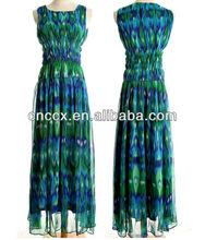 13CD1137 Sleeveless crinkle long length girls party dresses