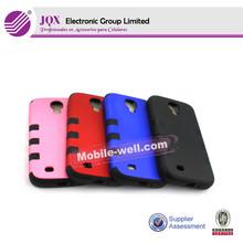 unique design pc+silicon mobile phone case for samsung S4 i9500
