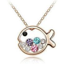 K136 Min.50USD Nickel Free Austrian crystal necklace fish princess