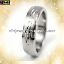 Hot Sale diamond cut pattern Fashion stainless steel plain ring