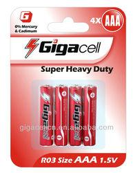 R03 battery Size AAA Super Heavy Duty Carbon battery