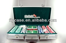 Aluminum durable handcrafted hot sale in occident gaming desktop poker case with logo printed