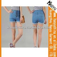 Fashional china made in china cotton denim blue mini ladies short jeans pants (HYS217)
