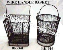 Round Wire Bucket Black