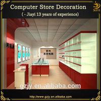 high grade wood showcase design for computer shop decoration