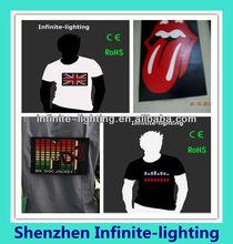 Black EL Equalizer T Shirts/sound active equalizer el t-shirt panel for t-shirts /caps/bags