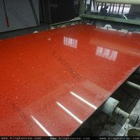 China Sparkle Red Quartz Stone / Engineered Glitter Surface Quartz Stone Big Slabs