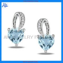 save 20% heart-cut aquamarine earring, huggie earring