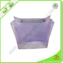 transparent pvc bag with plastic button closure