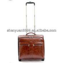Classical old style leather trolley bag/trolly luggage bags