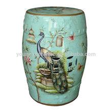 chinês bonito cerâmica interior luz azul pavão fezes assento